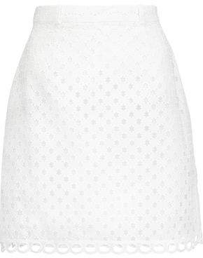 Carven Broderie Anglaise Cotton Mini Skirt