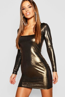boohoo Petite Metallic Long Sleeve Bodycon