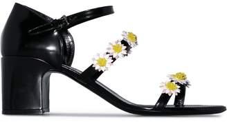 Bea Yuk Mui Fabrizio Viti black 65 daisy trim sandals