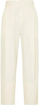 Chloé Cropped Pinstriped Woven Tapered Pants - Cream