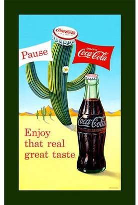 """Trademark Art """"Coke Pause Cactus"""" Vintage Advertisement on Wrapped Canvas"""