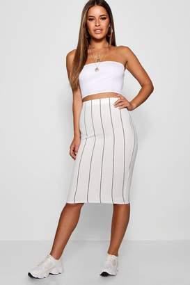 boohoo Petite Crepe Striped Mini Skirt