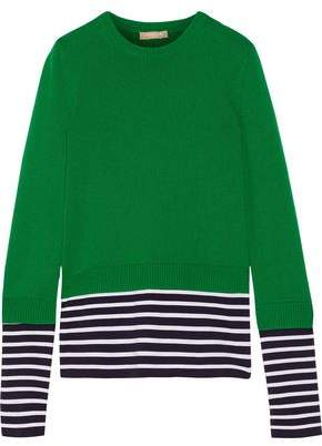 Michael Kors Striped Cashmere And Cotton-Blend Sweater