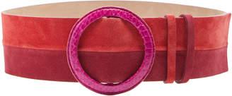 Carolina Herrera Color-Blocked Suede Belt