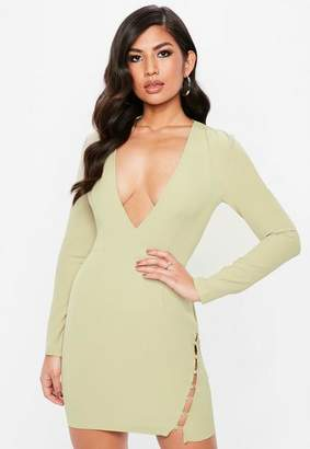 Missguided Green Plunge Long Sleeve Button Bodycon Dress