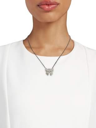 Arthur Marder Fine Jewelry Sterling Silver & Pave diamond Butterfly Pendant Necklace