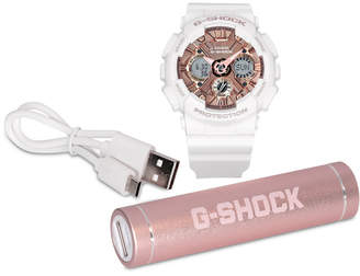 G-Shock Women's White Resin Strap Watch 46mm & Charger Gift Set