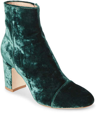 Polly Plume Deep Green Ally Velvet Ankle Booties