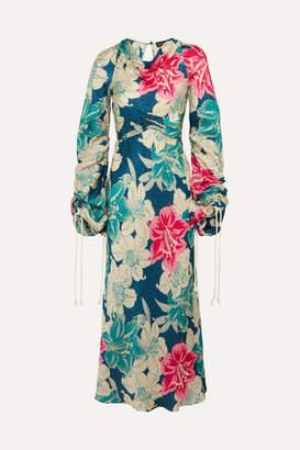 Etro Floral-print Silk-jacquard Maxi Dress - Blue