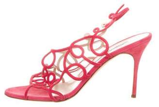 Manolo Blahnik Suede Slingback Sandals Pink Suede Slingback Sandals