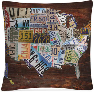"Trademark Global Masters Fine Art Usa License Plate Map on Wood 16"" x 16"" Decorative Throw Pillow"