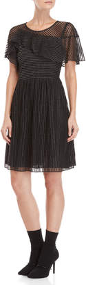 Manoush Ruffled Lurex Stripe Fit & Flare Dress