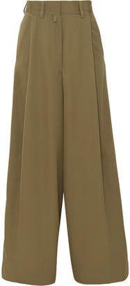 Dries Van Noten Pleated Wool Wide-leg Pants - Army green