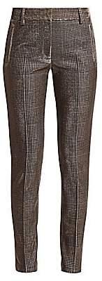 Akris Punto Women's Fabia Metallic Lurex Glen Check Jersey Pants