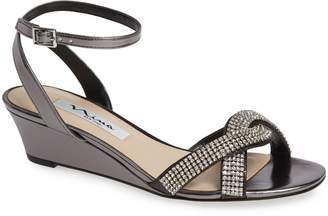 Nina Florina Crystal Embellished Wedge Sandal