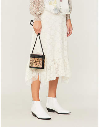 See by Chloe Floral-embroidered crepe midi skirt
