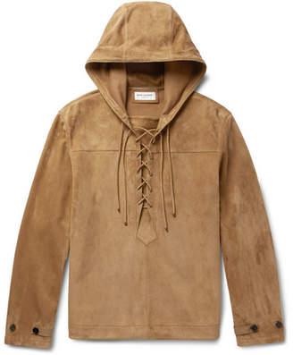 Saint Laurent Lace-Up Suede Hooded Jacket