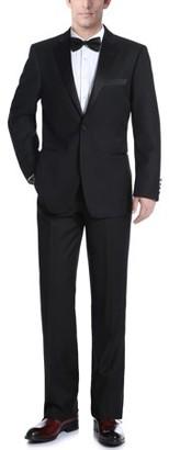 Verno Big Men's Black Slim Fit Two Piece Notch Collar Tuxedo With Ribbon Finish