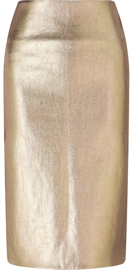 Cédric Charlier Rose Gold Painted Wool Skirt