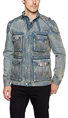 Buffalo David Bitton Men's Jistanzi Full Zip Washed Denim Fashion Jacket