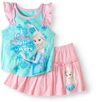 Disney Frozen Toddler Girls' Flutter Tank and Skirt Set