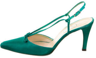 Vera Wang Satin Pointed-Toe Pumps $65 thestylecure.com