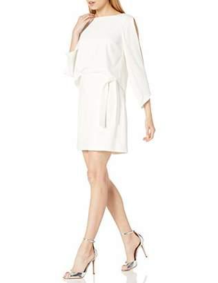 Halston Women's Long Slit Sleeve Crepe Dress