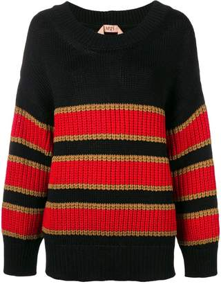No.21 striped chunky sweater