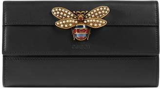 Gucci Queen Margaret Leather Flap Wallet