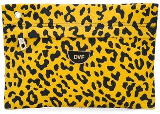 Diane von Furstenberg leopard print clutch bag