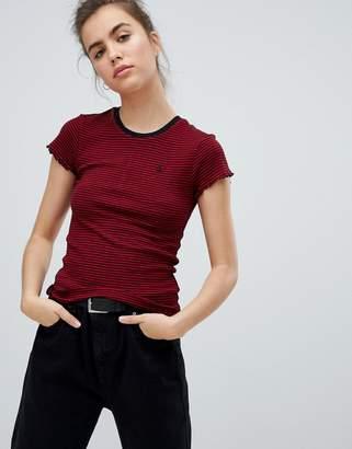 Volcom stripe short sleeve t shirt in red