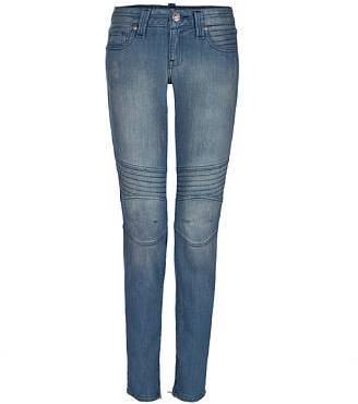 Vintage1 Blue Motorcycle Zipper Skinny Jeans