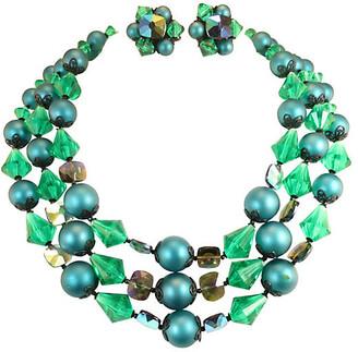 One Kings Lane Vintage 1950s Emerald Crystal Necklace Suite - Neil Zevnik