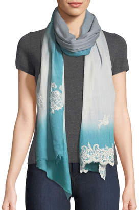 Bindya Ombre Lace-Trim Scarf, Blue