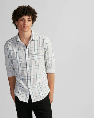 Express Slim Plaid Double Weave Western Shirt