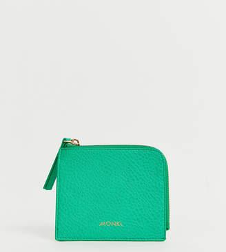 Monki faux leather zip wallet in green