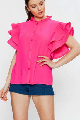 Jealous Tomato Button-Down Hot-Pink Blouse