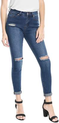 Allegra K Women's Mid Rise Stretch Distressed Design Skinny Jeans M