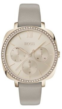 BOSS Carnation-gold-plated multi-functional watch with crystal details