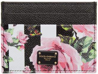 Dolce & Gabbana Black Stripes and Flowers Card Holder
