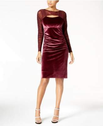 INC International Concepts I.N.C. Velvet Cutout Illusion Dress, Created for Macy's