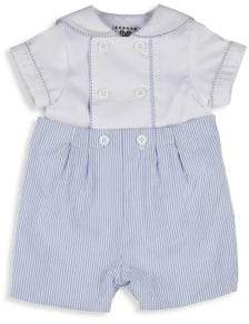 Florence Eiseman Baby's Two-Piece Double-Breasted Shirt and Stripe Cotton Button-On Shorts Set