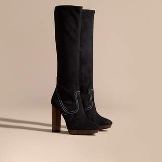 Burberry Topstitch Detail Knee-high Suede Platform Boots