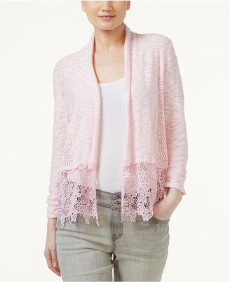 INC International Concepts Lace-Trim Cardigan, Only at Macy's $69.50 thestylecure.com