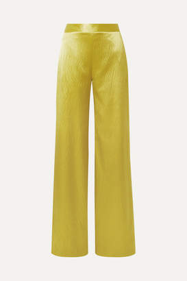 Brandon Maxwell Hammered Silk-satin Wide-leg Pants - Chartreuse