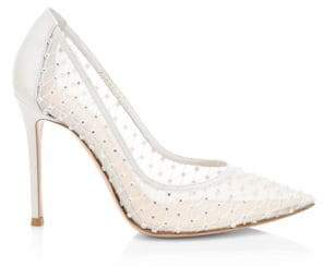 Gianvito Rossi Women's Crystal Point-Toe Pumps - White - Size 36.5 (6.5)