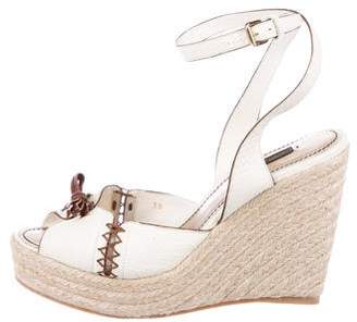Louis Vuitton Leather Espadrille Wedges
