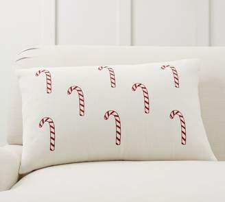Pottery Barn Candy Cane Embroidered Pillow Cover