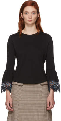 See by Chloe Black Lace Wrist Loose Fit T-Shirt