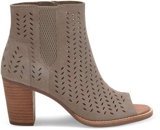 Desert Taupe Suede Perforated Leaf Women's Majorca Peep Toe Booties $109.95 thestylecure.com